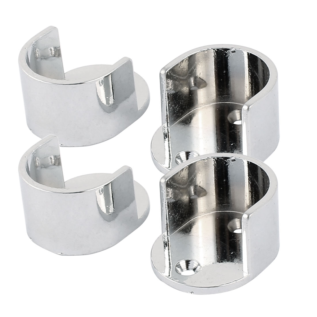 Wardrobe Closet Metal Round Rod Flange Holder Bracket 25mm Dia Silver Tone 4pcs