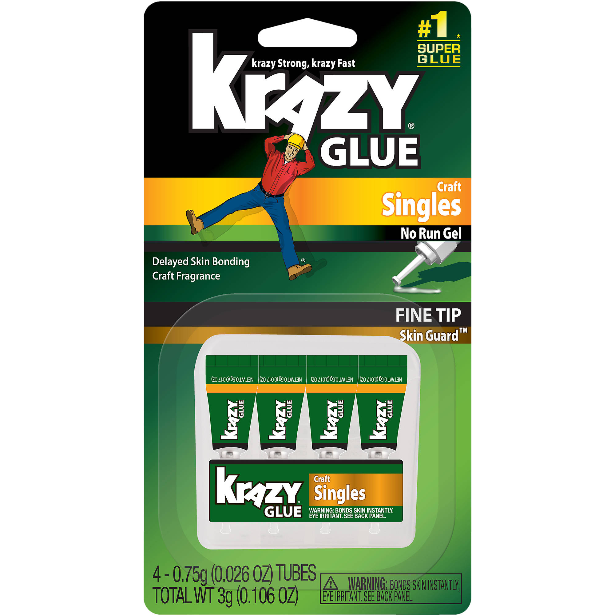 Elmer's Krazy Glue Craft Mini Singles, 4pk