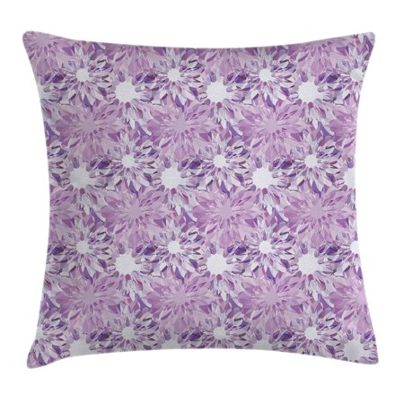 Mauve Decor Throw Pillow Cushion Cover, Digital Guiloche Fractal Crystal Stylized Floral Ornamental Retro Design, Decorative Square Accent Pillow Case, 20 X 20 Inches, Lilac Lavender, by Ambesonne