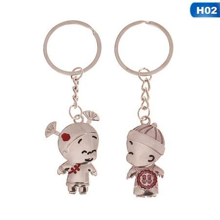 Couple Trinket (Fancyleo 2PCS Hot Lovers Couple Keychain Trinket Anime Key Chain Key Ring Souvenir Llaveros Women Valentine's Day Chaveiro Wedding Gift)