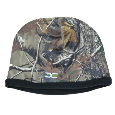 Realtree Mens Reversible Green Cammo Neoprene & Black Fleece Beanie (Neoprene Hat)
