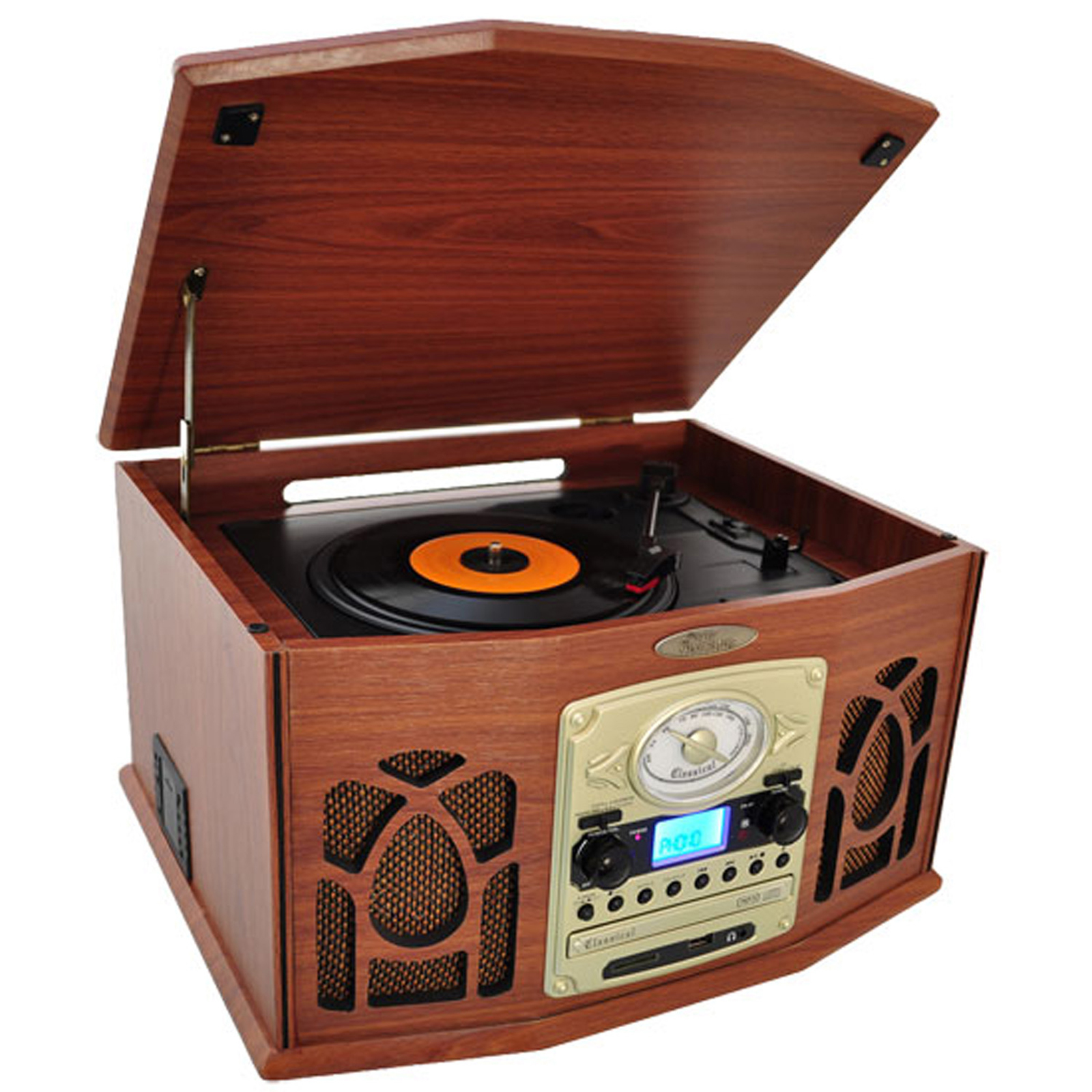 Pyle PTCDS7UIW Vintage Classic-Style Turntable System with Built-in Speakers, AM FM Radio, CD & Cassette... by Pyle