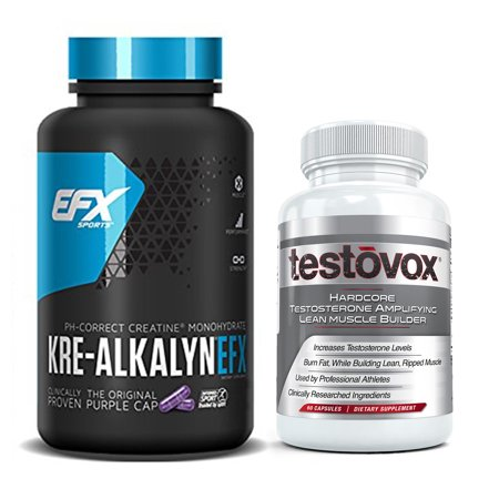 Kre Alkalyn EFX and Testovox Bundle | Power Packed Muscle Builder Stack to Boost Testosterone, Burn Fat, Enhance Performance and Strength | Revolutionary Creatine Monohydrate, Amino Acid Supplement Efx Performance Series