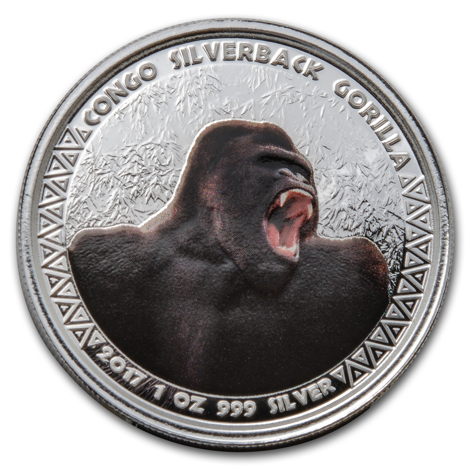 2017 Republic of Congo Silver 1 oz Silverback Gorilla (Colorized)