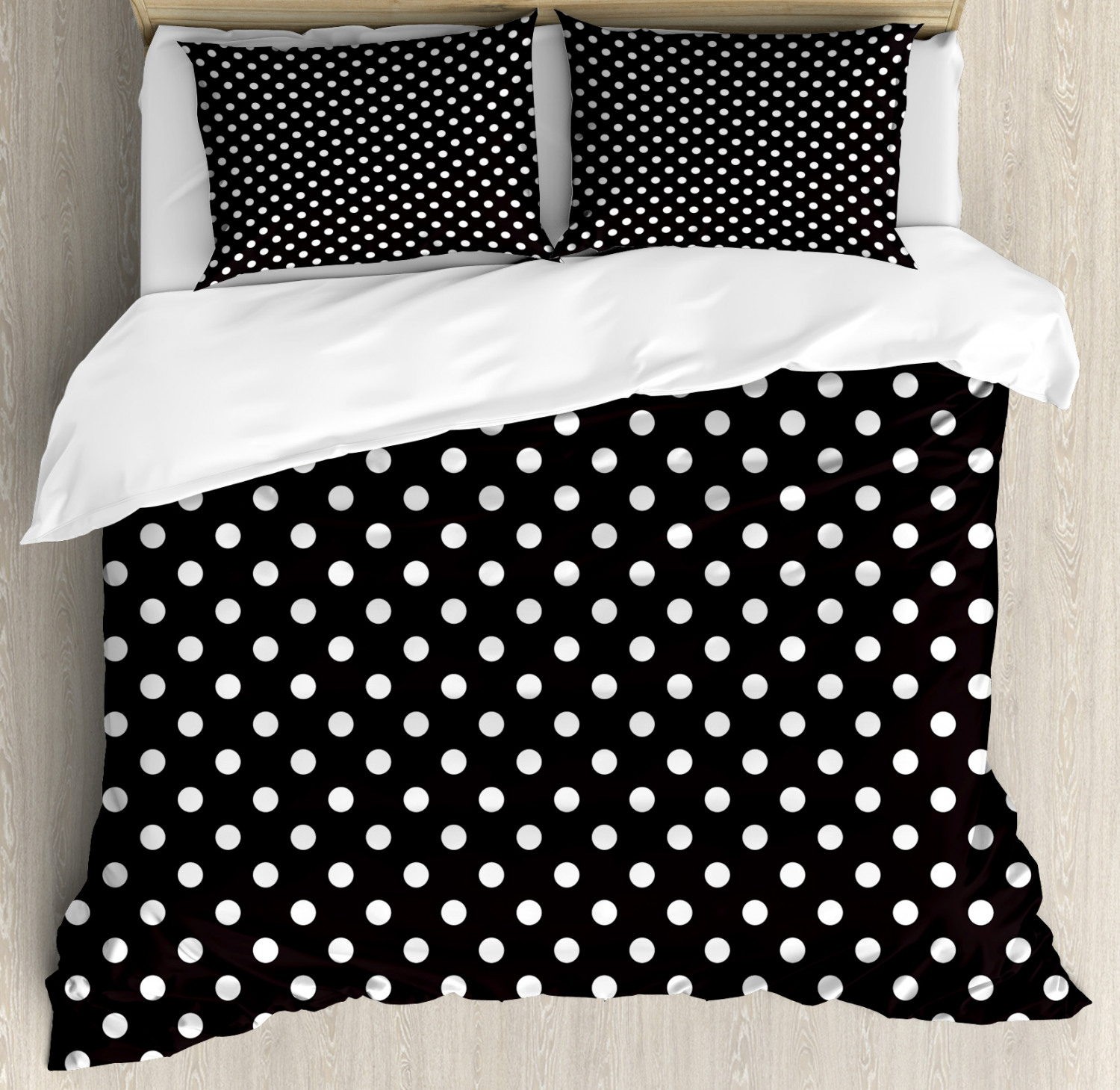Black And White Duvet Cover Set Classical Pattern Of White Polka Dots On Black Traditional Vintage Design Decorative Bedding Set With Pillow Shams Onyx White By Ambesonne Walmart Com Walmart Com