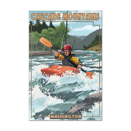 Cascade Mountains, Washington - Kayak Scene - Lantern Press Poster (8x12 Acrylic Wall Art Gallery Quality)