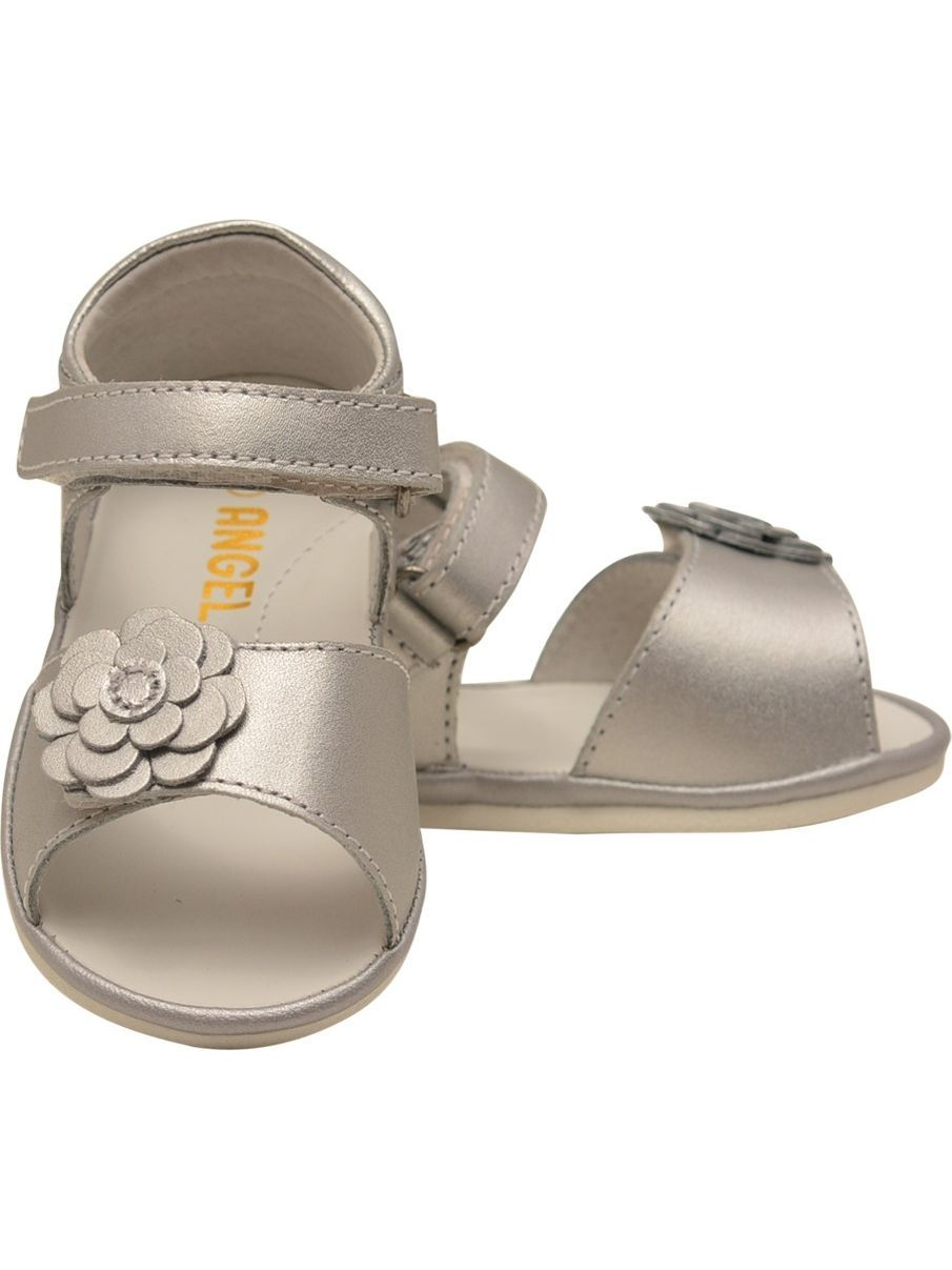 Angel Girls Silver Flower Adorned Leather Open Toe Sandals