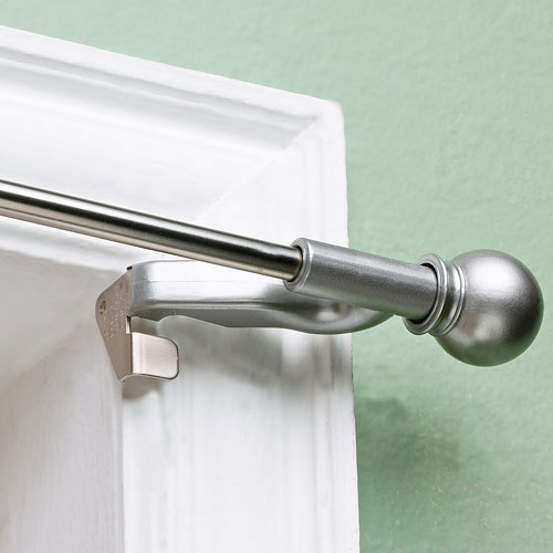 "Twist and Fit Decorative Curtain Rod, Satin Nickel, 7/16"" rod diameter"