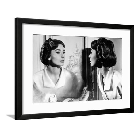 Actress Audrey Hepburn Looking at Her Reflection in the Mirror January 16, 1957 Framed Print Wall