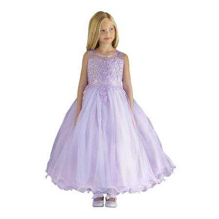 Angels Garment Little Girls Lilac Satin Layered Tulle Flower Girl Dress 3-6 Little Angels Flower Girl