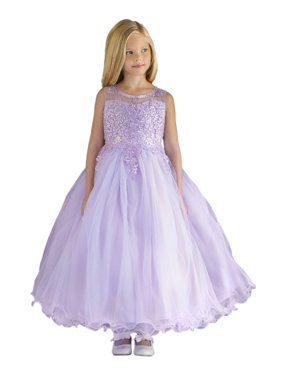 Angels Garment Little Girls Lilac Satin Layered Tulle Flower Girl Dress 3-6