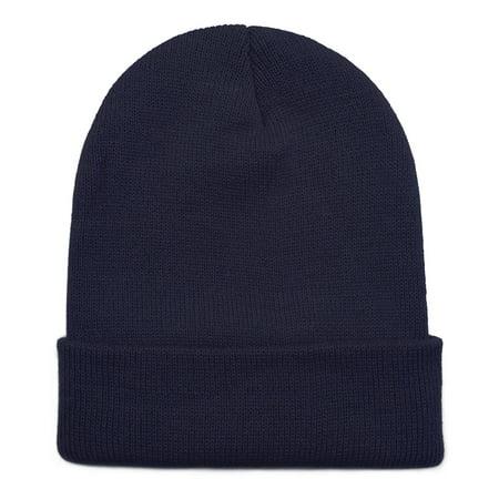 Opromo Unisex Plain Long Cuffed Beanie Fold Knit Hat Ski Skull Cap, 19 Colors-Navy Blue-1piece](Plain Skulls To Decorate)