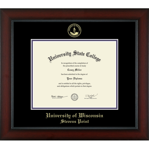 University Of Wisconsin Stevens Point Officially Licensed Gold Embossed Diploma Frame Diploma Size 10 X 8 Walmart Com Walmart Com