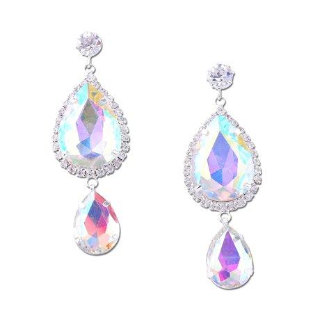Double Teardrop Earrings - Silver Double Aurora Borealis Teardrop with Round Crystal Dangle Earrings