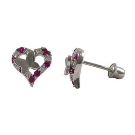 Dlux Jewels Sterling Silver 8.5 mm Open Heart with Two Tonerfly Baby Stud Earrings Ruby & White AAA Cubic Zirconia - image 1 of 1