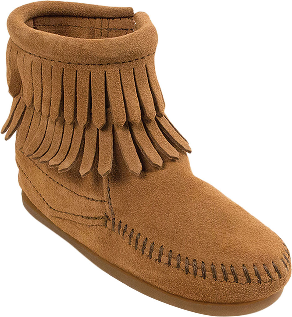 Minnetonka Girls Double Fringe Side Zip Bootie Crawling Baby Shoes