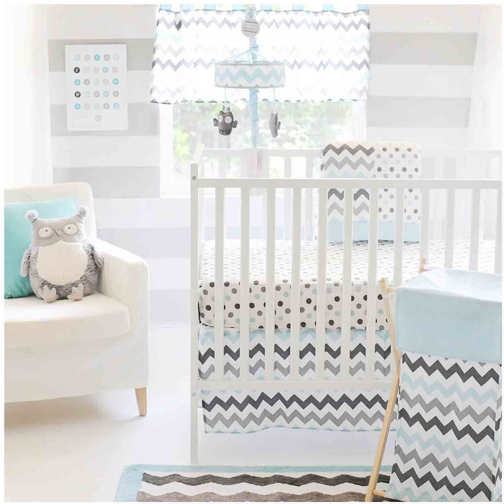 The Peanut Shell 3 Piece Baby Crib Bedding Set Grey And White Cloud Print 100 Cotton Quilt Skirt Sheet