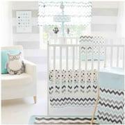 My Baby Sam Chevron 3-Piece Crib Bedding Set, Aqua/Gray