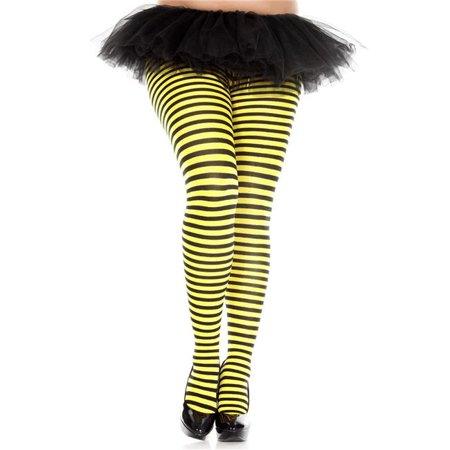 music legs 7471q-blk-nyellow plus size striped tights, black & neon yellow](Plus Size Striped Tights)