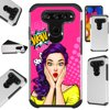 Compatible For LG V40 ThinQ Case Hybrid TPU Fusion Phone Cover (WOW Girl) Hybrid Case Information:Brand new 2-layer hard plastic case combined with flexible rubber TPU inner cover.• Hybrid case is a molded perfect-fit to your phone.• Double the protection both front and back hard cover.• Protects your phone against any scratch, bump, finger marks, and dirt.• High quality TPU that is resistant to shock and has a great grip.• Custom cutout design, giving you total access to all functions and buttons without removing your phone from case.• Designed in US with superior quality.Phone NOT included. Compatible For: LG V40 ThinQ