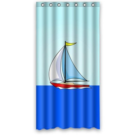 DEYOU Sailboat Shower Curtain Polyester Fabric Bathroom Size 36x72 Inches