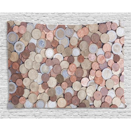 Breeze Tapestry - Money Tapestry, Close Up Photo of Coins European Union Euros Cents on Rustic Wooden Board, Wall Hanging for Bedroom Living Room Dorm Decor, 80W X 60L Inches, Bronze Silver Yellow, by Ambesonne