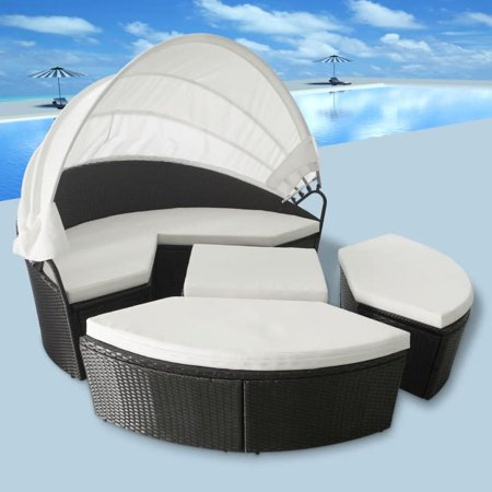 11 Piece Patio Round Daybed PE Wicker Rattan Sofa Set Sectional Seating for Outdoor Furniture Lawn Backyard Poolside Garden with Canopy, Cushions and Pillows ()