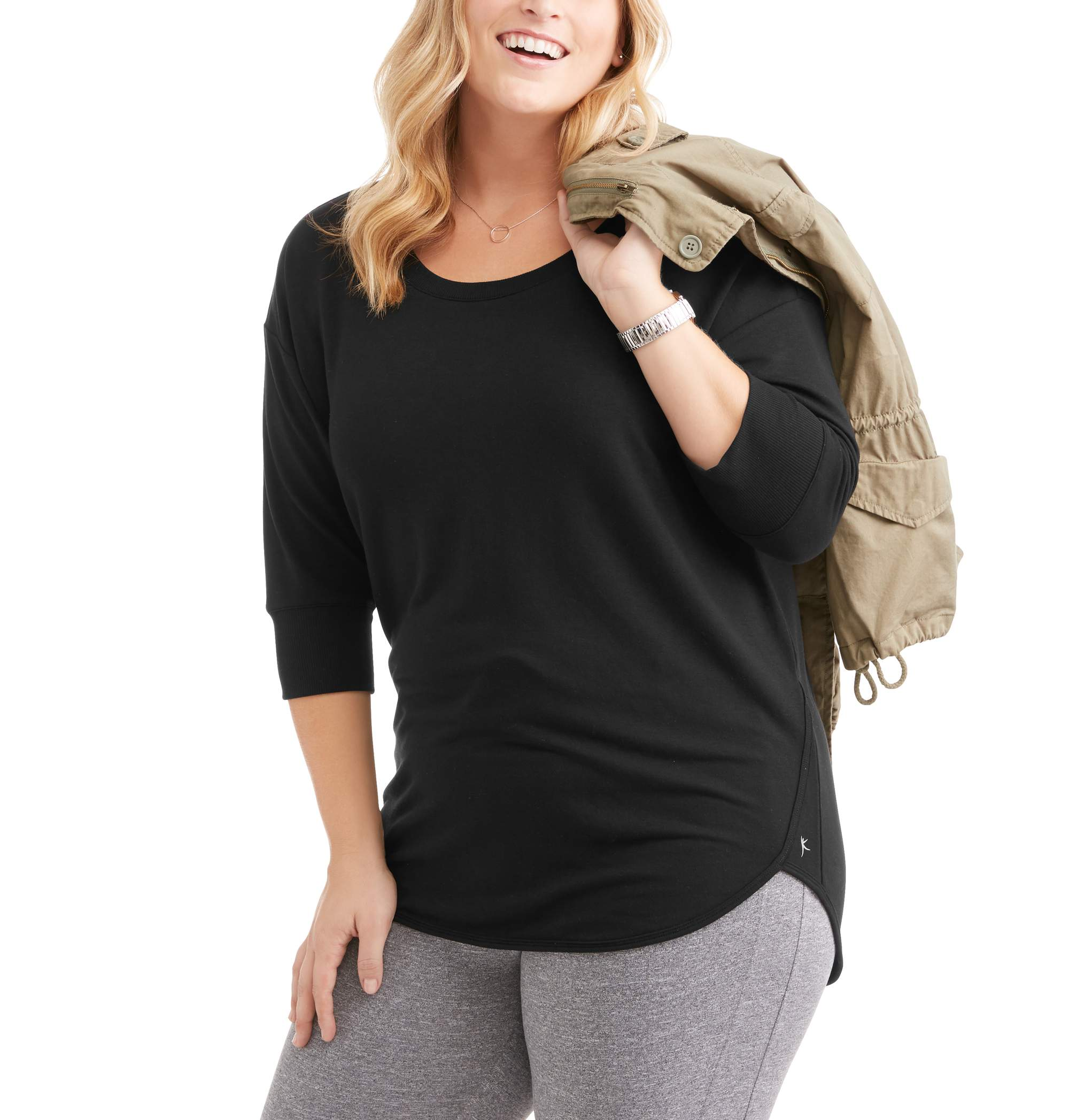 Danskin Now Women's Plus 3/4 Sleeve French Terry Sweatshirt