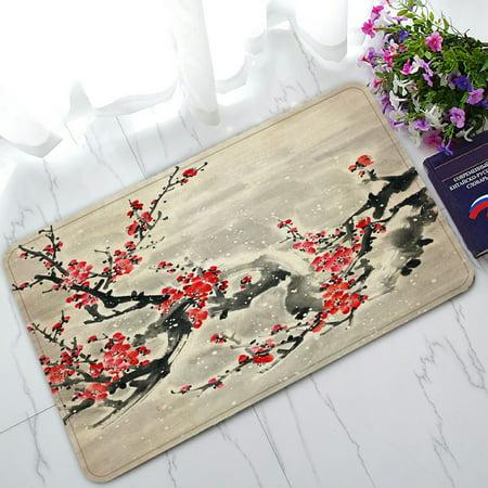PHFZK Asian Doormat, Plum Blossom Traditional Chinese Painting Doormat Outdoors/Indoor Doormat Home Floor Mats Rugs Size 30x18 inches