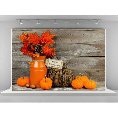 GreenDecor Polyster 7x5ft Thanksgiving Photography Backdrops Vintage Wood Wall Background Pumpkin Backdrops Props (Thanksgiving Backdrop)