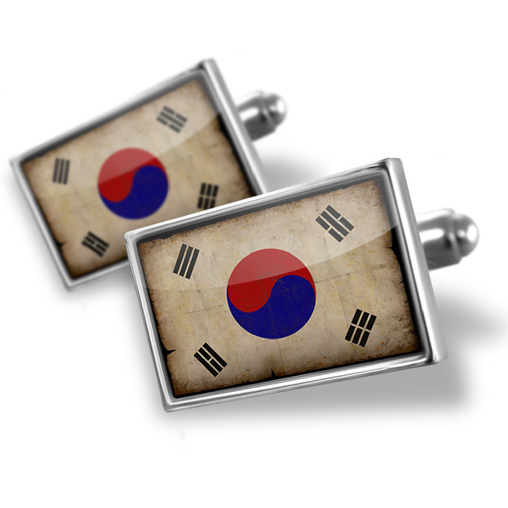 Cufflinks South Korea Flag with a vintage look NEONBLOND by NEONBLOND