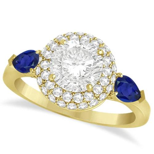 Allurez 14k Gold Pear Sapphire & Round Diamond Halo Engagement Ring 1.70ct
