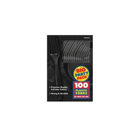 Black Plastic Forks (100 Pack) - Party Supplies