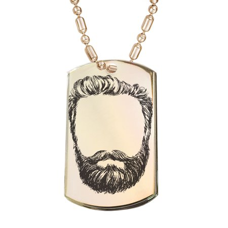 - KuzmarK Gold Pendant Dog Tag Necklace - Hipster Beard Gold Dog Tag Necklace