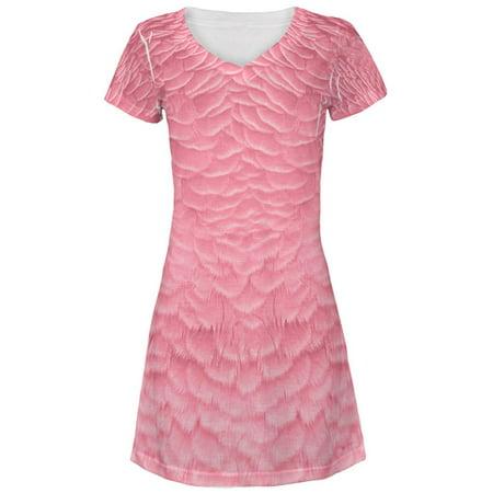 Halloween Pink Flamingo Costume All Over Juniors Beach Cover-Up Dress