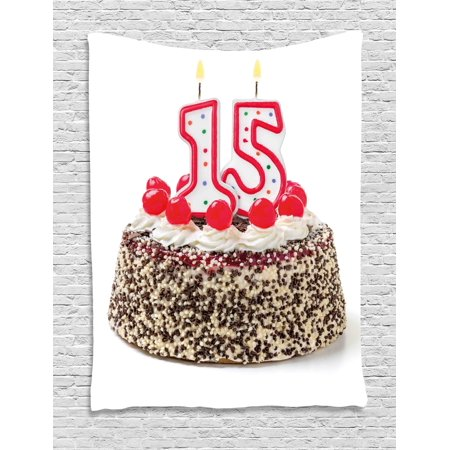 15th birthday decorations tapestry chocolate cherry cake for Living room 5 minute chocolate cake