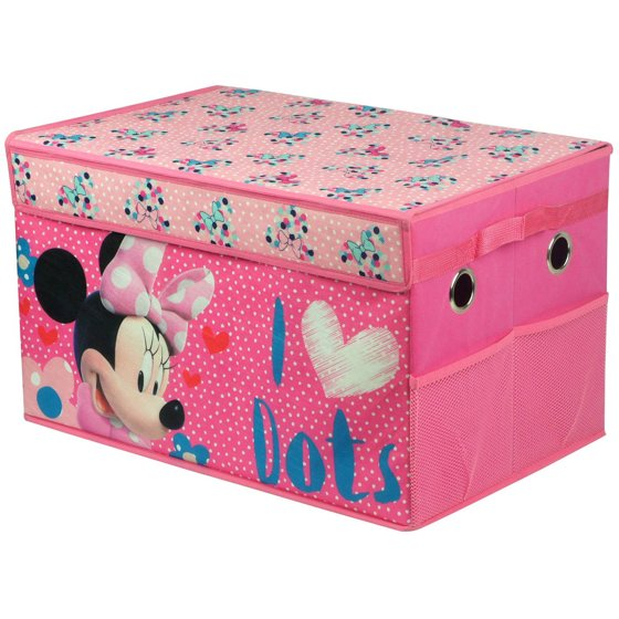 Disney Collapsible Storage Trunk Toy Box Organizer Chest: Minnie Mouse Collapsible Toy Storage Trunk