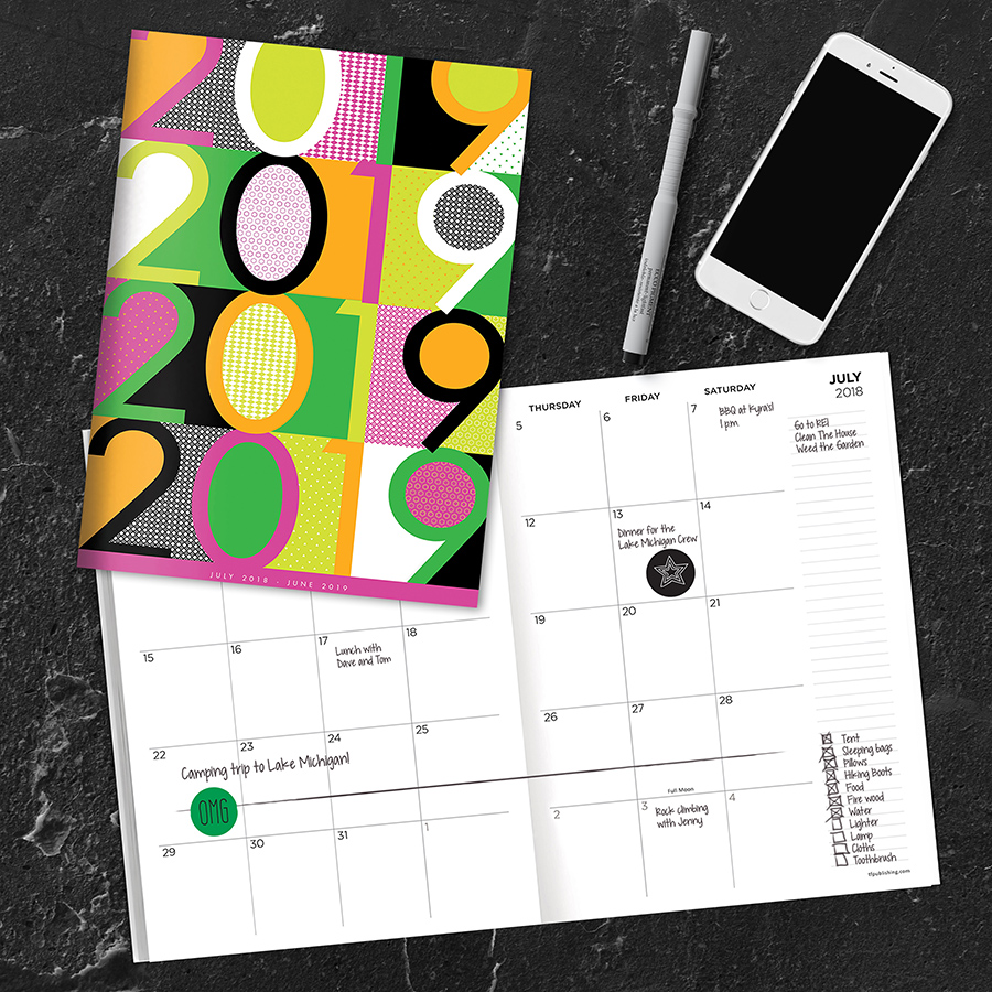 """2019 Color Pop July 2018 June 2019 Academic Year 10.25""""x7.5"""" Monthly Planner by TF Publishing"""