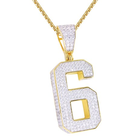 Out Initial Letter - Men's Block Number 6 Initial Letter Iced Out Silver Hip Hop Lucky Pendant Chain