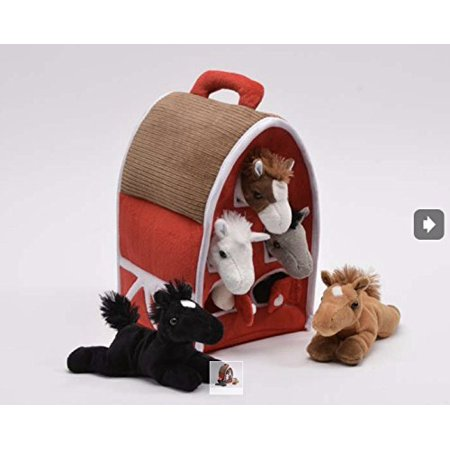 Horse 5 Horse (Plush Horse Barn with Horses - Five (5) Stuffed Animal Horses in Play Carrying Barn)