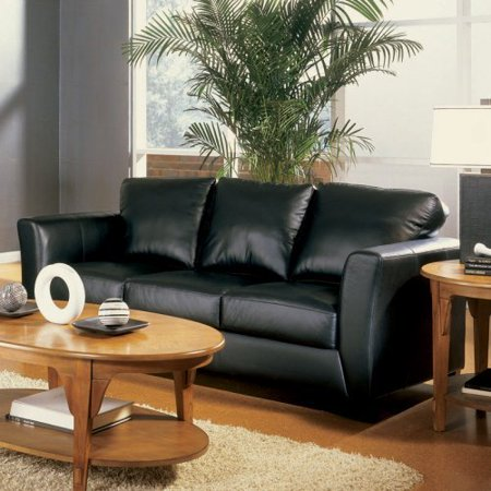 Charles Schneider Primitive Black Leather Sofa Walmartcom