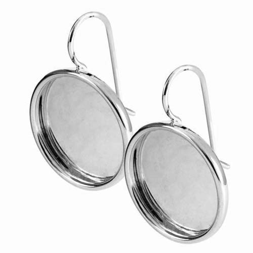 Nunn Design Silver Plated Pewter Bezel Large Round Earrings 1 Pair