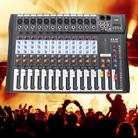 bluetooth Studio Audio Mixer With USB Professional 12-Channel Audio Mixing Console System