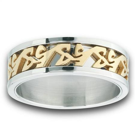Gold-Tone Script Symbol Eternity Wedding Ring Stainless Steel Band Size 12 - Wedding Script