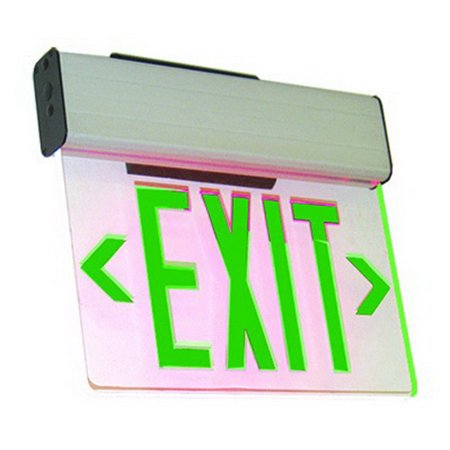 WESTGATE Led Edgelit Exit Sign, Sgl Canopy, Red On Clear Panel, Aluminum Housing