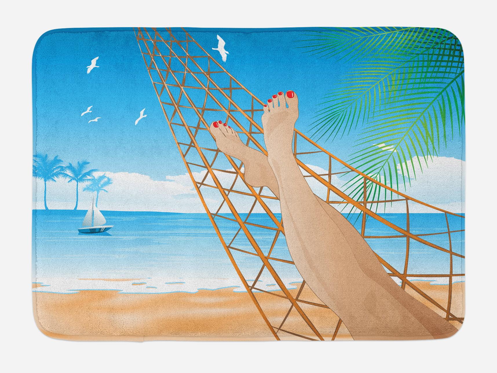 Beach Bath Mat, Legs of the Sexy Lady Laying in the Hammock toward the Ocean in Hawaiian Tropical, Non-Slip Plush Mat... by 3decor llc