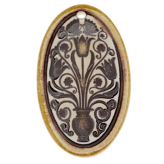 Clay River Designs Porcelain Pendant, 27x48mm Glazed Oval W/ Floral Motif, 1 Piece, Honey