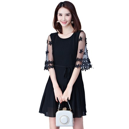 Women Dresses Summer Casual Round Neck vestidos de verano Solid Color Self-tie Flared Mid Sleeve Ruffled Dress (Vestidos De Fiesta Largos)