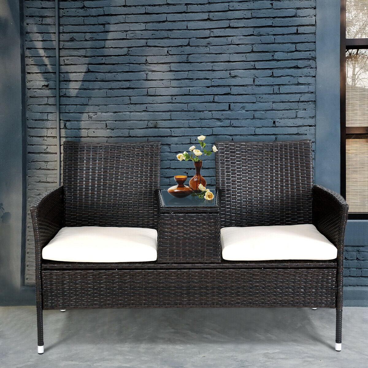 Costway Patio Rattan Chat Set Seat Sofa Loveseat Table Chairs w/ Cushion - image 3 de 9
