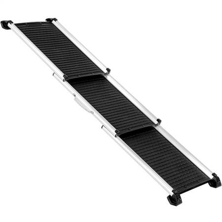 Topeakmart Telescoping Foldable Pet Ramp Portable Aluminum Dog Safety Ramp for Travel SUV Truck Pickup Black